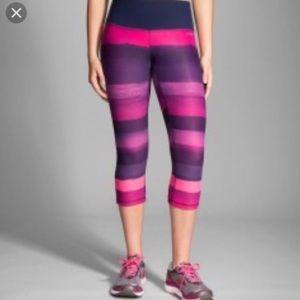 Brooks Pink & Purple Striped Running Capri